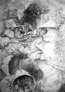 'Müll', Kreide, Kohle, Öl auf Aquarellpapier, Collage, 70cm x 100cm