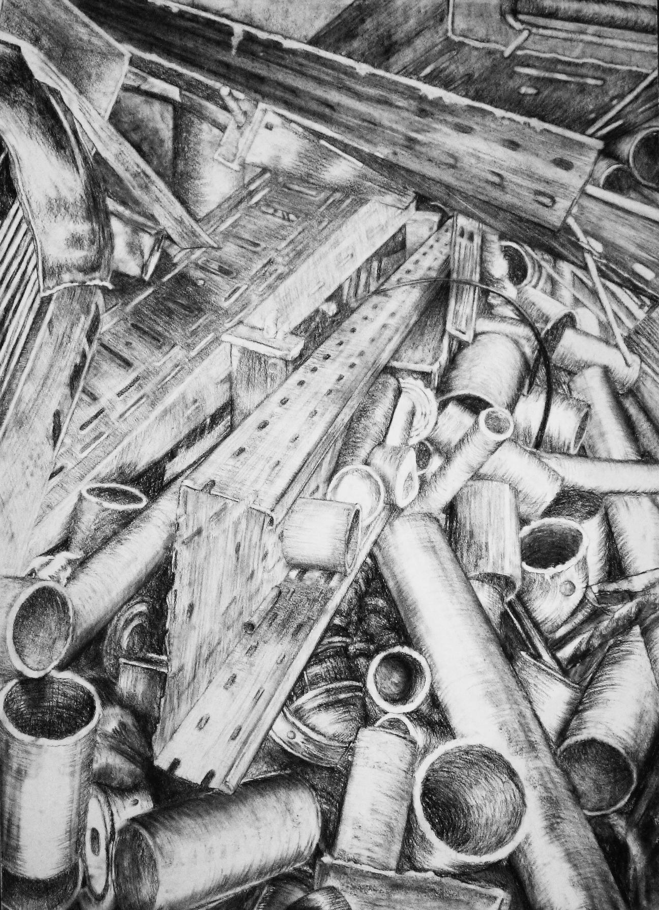 'Müll III', Kreide, Kohle auf Aquarellpapier, 70cm x 100cm